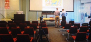 Setting up for the noon talk